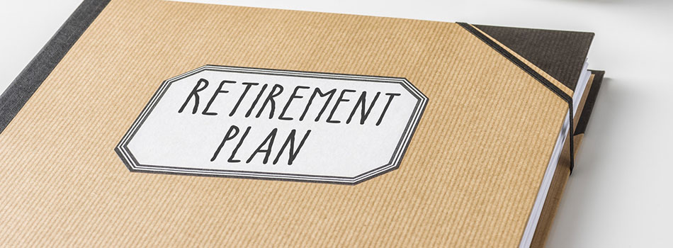 Photo of a binder that reads 'retirement plan'(c) Can Stock Photo