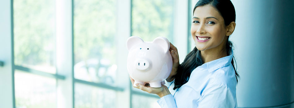 Young woman holding a piggy bank. (c) Can Stock Photo